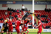 Barnsley defender Ethan Pinnock misses this early chance from a corner during the EFL Sky Bet League 1 match between Walsall and Barnsley at the Banks's Stadium, Walsall, England on 23 March 2019.