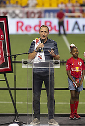 August 5, 2018 - Harrison, New Jersey, United States - General Manager Marc de Grandpre speaks during New York Red Bulls honored Bradley Wright-Phillips for scoring fastest 100 goals in MLS history after game against LAFC at Red Bull Arena Red Bulls won 2 - 1  (Credit Image: © Lev Radin/Pacific Press via ZUMA Wire)