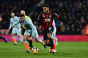 AFC Bournemouth Forward, Josh King (17) holds off Chelsea Forward, Pedro (11) during the Premier League match between Bournemouth and Chelsea at the Vitality Stadium, Bournemouth, England on 30 January 2019.