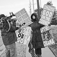Members of the Westboro Baptist Church protesting in front of Congregation Kol Ami in Salt Lake City.