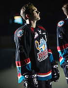 KELOWNA, CANADA - SEPTEMBER 24: Riley Stadel #3 of the Kelowna Rockets stands in the starting line up of the Kelowna Rockets game on September 24, 2016 at Prospera Place in Kelowna, British Columbia, Canada.  (Photo By Cindy Rogers/Nyasa Photography,  *** Local Caption ***