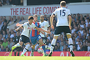 Son Heung-Min battles with James McArthur during the Barclays Premier League match between Tottenham Hotspur and Crystal Palace at White Hart Lane, London, England on 20 September 2015. Photo by Alan Franklin.