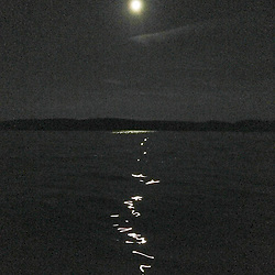 Full Moon and High Tide at Night, Castine. Maine, US