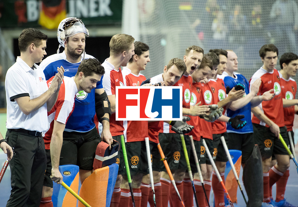 BERLIN - Indoor Hockey World Cup<br /> SF2 Australia - Austria<br /> foto: Line Up<br /> WORLDSPORTPICS COPYRIGHT FRANK UIJLENBROEK