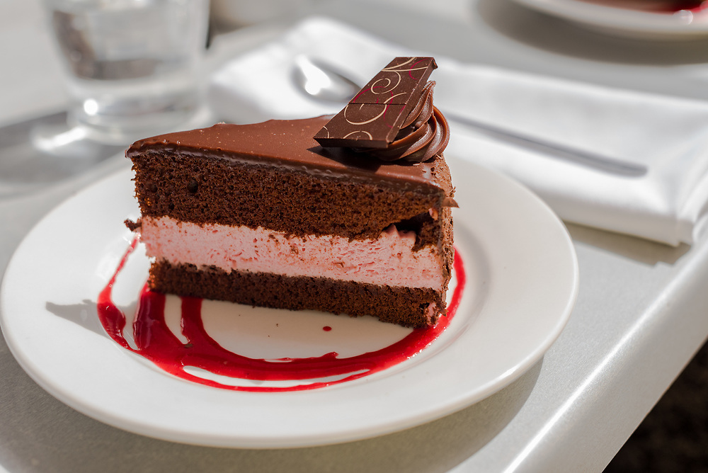 A slice of Rasberry Chocolate Cake at a choclate factory in Tasmania, Australia