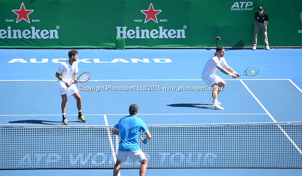Doubles players Andre Begemann and Robin Haase on Day 2 at the Heineken Open. Festival of Tennis, ATP World Tour. ASB Tennis Centre, Auckland, New Zealand. Tuesday 13 January 2015. Copyright photo: Andrew Cornaga/www.photosport.co.nz