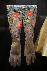 A pair of gloves displayed at the 'Christian Dior: Designer of Dreams' at the Victoria and Albert Museum, London. Picture dated: Wednesday January 30, 2019. Photo credit should read: Isabel Infantes / EMPICS Entertainment.