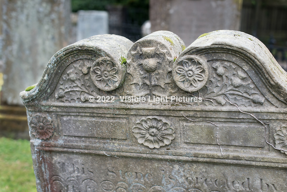 Leaning headstone in the Luss cemetary