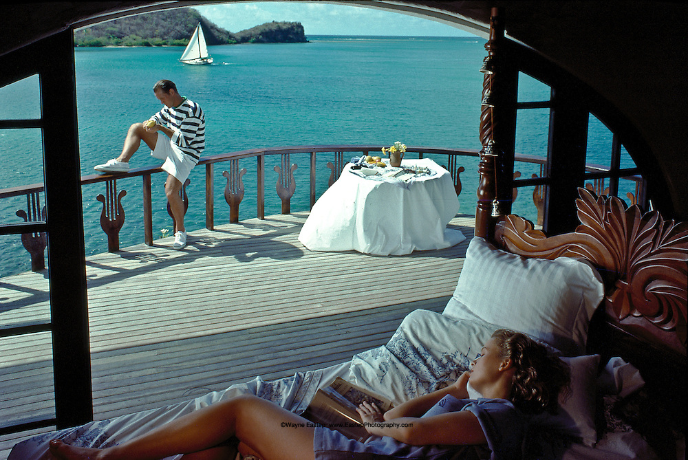 Couple at Secret Harbour Resort, Mount Hartman Bay, Grenada, West Indies - Nautica Brand Campaign