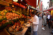 Brussels, Belgium. Seafood restaurants at rue des Bouchers.
