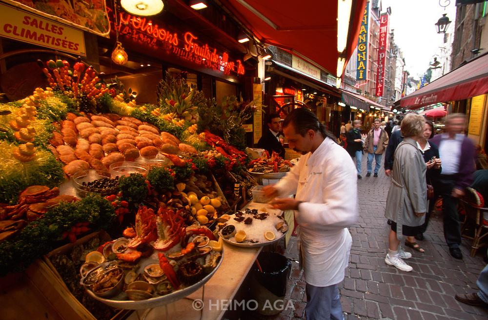 Brussels, Belgium. Seafood restaurants at rue des Bouchers.