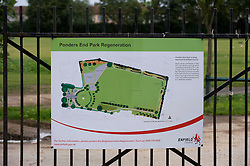 © Licensed to London News Pictures. 18/08/2011.The entrance to Ponders End Recreation Ground in Enfield, London today (18/08/2011) where a 14 Year-old boy was found stabbed to death yesterday afternoon. Photo credit: Ben Cawthra/LNP