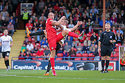 Luke Summerfield & Gary Liddle during the Capital One Cup match between York City and Bradford City at Bootham Crescent, York, England on 11 August 2015. Photo by Simon Davies.
