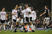 Fulham midfielder Floyd Ayite (11) celebrating scoring 1-1 during the EFL Sky Bet Championship match between Fulham and Derby County at Craven Cottage, London, England on 17 December 2016. Photo by Matthew Redman.