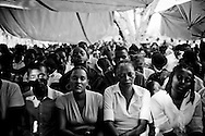 Worshipers at Sunday church services at Eglise Baptiste Bellevue Salem MEBSH church in Port-au-Prince, Haiti.