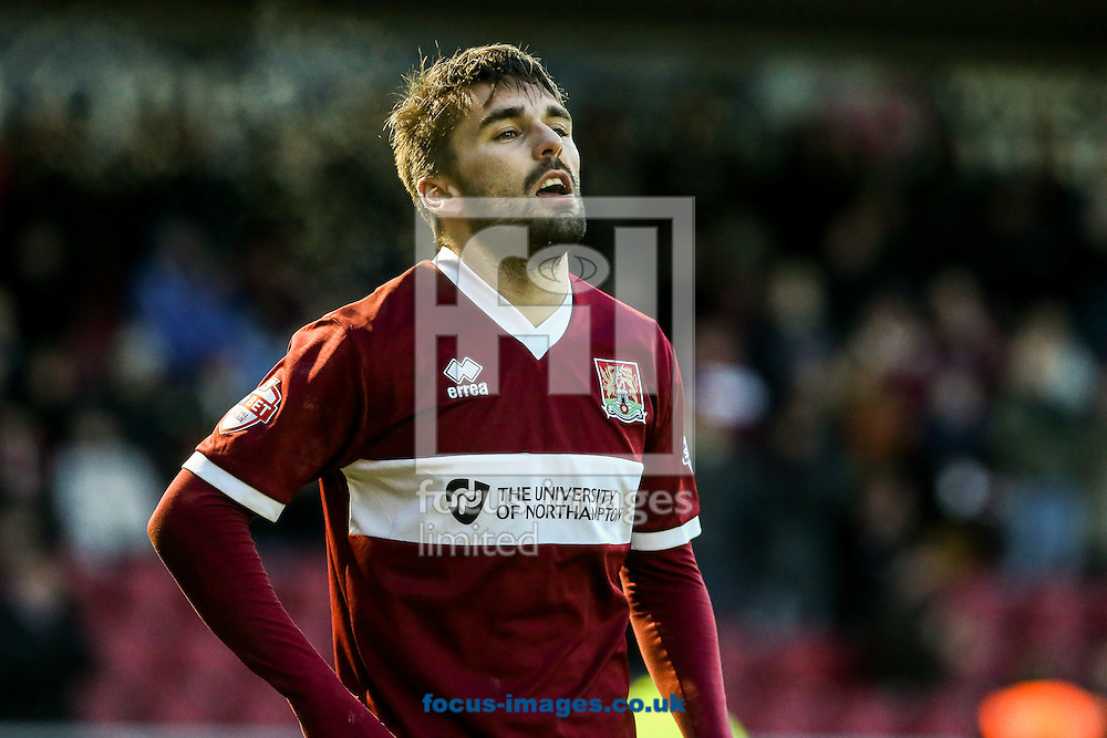 Ricky Holmes of Northampton Town after scoring their first goal during the Sky Bet League 2 match at Sixfields Stadium, Northampton<br /> Picture by Andy Kearns/Focus Images Ltd 0781 864 4264<br /> 17/01/2015