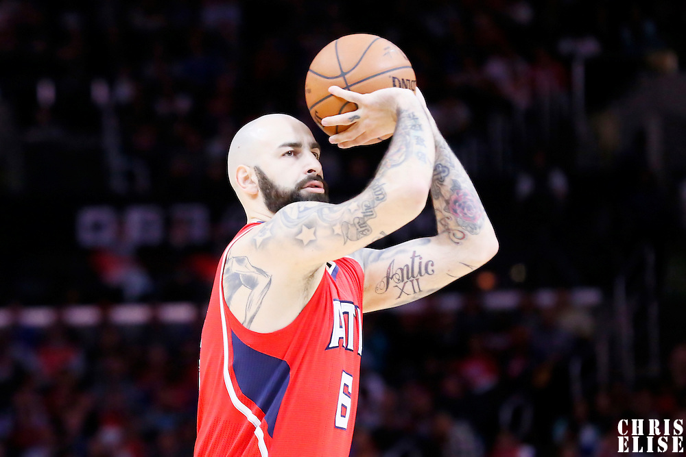05 January 2014: Atlanta Hawks forward Pero Antic (6) takes a jump shot during the Atlanta Hawks 107-98 victory over the Los Angeles Clippers, at the Staples Center, Los Angeles, California, USA.
