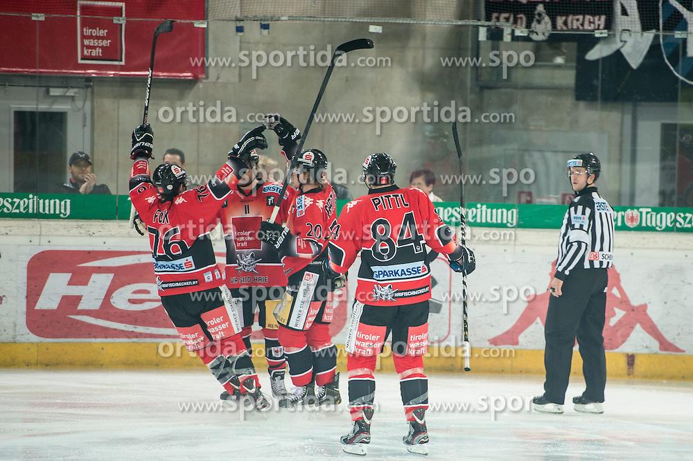 11.01.2013, Tiroler Wasserkraft Arena, Innsbruck, AUT, EBEL, HC TWK Innsbruck vs EHC Black Wings Linz, 40. Runde, im Bild Torjubel von Aaron Fox, (HC TWK Innsbruck, # 76), Alexander Hoeller, (HC TWK Innsbruck, # 11), Mike Bartlett, (HC TWK Innsbruck, # 20) und Stefan Pittl, (HC TWK Innsbruck, # 84) // during the Erste Bank Icehockey League 40th Round match between HC TWK Innsbruck and EHC Black Wings Linz at the Tiroler Wasserkraft Arena, Innsbruck, Austria on 2013/01/11. EXPA Pictures © 2013, PhotoCredit: EXPA/ Eric Fahrner