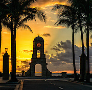 Sunrise  behind the Clock Tower in Worth Avenue