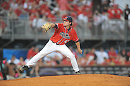 Mississippi's Christian Trent (47) pitches vs. Louisiana-Lafayette in an NCAA Super Regional game in Lafayette, La. on Sunday, June 8, 2014. Mississippi won 5-2.