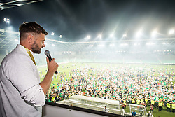 Igor Biscan, head coach of NK Olimpija Ljubljana has a speech for fans after winning during football match between NK Aluminij and NK Olimpija Ljubljana in the Final of Slovenian Football Cup 2017/18, on May 30, 2018 in SRC Stozice, Ljubljana, Slovenia. Photo by Vid Ponikvar / Sportida