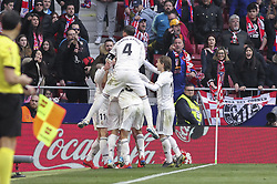 February 9, 2019 - Madrid, Madrid, Spain - Players of Real Madrid celebrating a goal during La Liga Spanish championship, , football match between Atletico de Madrid and Real Madrid, February 09th, in Wanda Metropolitano Stadium in Madrid, Spain. (Credit Image: © AFP7 via ZUMA Wire)
