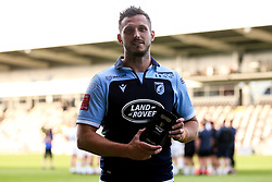 Jason Tovey of Cardiff Blues is presented with the Man of the Match award Guinness PRO14, Rodney Parade, Newport, UK 30/08/2020<br /> Cardiff Blues vs Ospreys<br /> <br /> Mandatory Credit ©INPHO/Robbie Stephenson