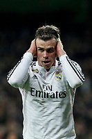 Real Madrid´s Gareth Bale celebrates a goal (1-0) during La Liga match at Santiago Bernabeu stadium in Madrid, Spain. March 15, 2015. (ALTERPHOTOS/Victor Blanco)