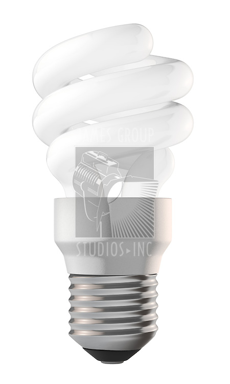 An energy saving lightbulb isolated on white. Includes clipping path.