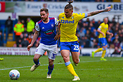 Kalvin Phillips of Leeds United (23) and Alan Judge of Ipswich Town (31) in action during the EFL Sky Bet Championship match between Ipswich Town and Leeds United at Portman Road, Ipswich, England on 5 May 2019.