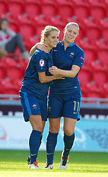 LLANELLI, WALES - Saturday, August 31, 2013: France's Sandie Toletti celebrates scoring the first goal against England with team-mate Lea Declercq in extra time during the Final of the UEFA Women's Under-19 Championship Wales 2013 tournament at Parc y Scarlets. (Pic by David Rawcliffe/Propaganda)