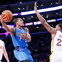 12 April 2014: Dallas Mavericks guard Rajon Rondo (9) goes for the baby hook past Los Angeles Lakers forward Tarik Black (28) during the Dallas Mavericks 120-106 victory over the Los Angeles Lakers, at the Staples Center, Los Angeles, California, USA.