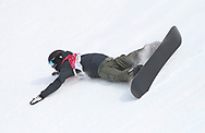 Switzerland's Niklas Mattsson takes a fall in the Men's Snowboarding Big Air Final at the Alpensia Ski Jumping Centre during day fifteen of the PyeongChang 2018 Winter Olympic Games in South Korea.