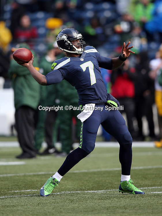 Seattle Seahawks quarterback Tarvaris Jackson (7) throws a pass while warming up before the NFL week 20 NFC Championship football game against the Green Bay Packers on Sunday, Jan. 18, 2015 in Seattle. The Seahawks won the game 28-22 in overtime. ©Paul Anthony Spinelli
