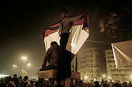 Thousands of Egyptians demonstrators gather on Tahir Square in Cairo to claim removal of president Mubarak.<br /> Demonstrators react at Mubabarak speech after he  announced he will not run again in the coming election. 01 February 2011.