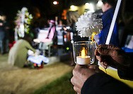 Supporters offer flowers during a candlelight vigil in remembrance and support of 'Comfort Women', Japanese military sexual slavery victims during World War II, at Glendale Peace Monument on January 5, 2016 in Glendale, California. AFP PHOTO / Ringo Chiu