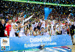 Players of Spain celebrate at medal ceremony after the final basketball game between National basketball teams of Spain and France at FIBA Europe Eurobasket Lithuania 2011, on September 18, 2011, in Arena Zalgirio, Kaunas, Lithuania. Spain defeated France 98-85 and became European Champion 2011. (Photo by Vid Ponikvar / Sportida)