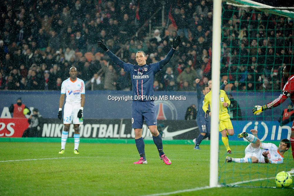 FOOTBALL - FRENCH CHAMPIONSHIP 2012/2013 - L1 - PARIS SAINT GERMAIN v OLYMPIQUE MARSEILLE - 24/02/2013 - PHOTO JEAN MARIE HERVIO / REGAMEDIA / DPPI - JOY ZLATAN IBRAHIMOVIC (PSG) AFTER HIS GOAL