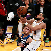 25 December 2017: Los Angeles Lakers guard Tyler Ennis (10) goes for the layup during the Minnesota Timberwolves 121-104 victory over the LA Lakers, at the Staples Center, Los Angeles, California, USA.