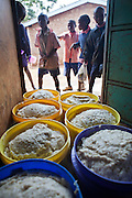 Containers full of Matoke waiting to be served to the 800 children at Graissa Road Primary School in Thika, Kenya. The kitchen staff wages are paid by AFCIC (Action for children in conflict). The majority of the pupils are from the Kiandutu slum.