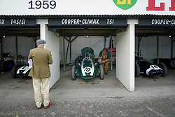 © Licensed to London News Pictures. <br /> 13/09/2019.  <br /> Goodwood.West, Sussex. UK.<br /> The Goodwood Motor Circuit celebrates the 21st year of the Revival.This has become one of the biggest annual historic motorsport events in the world and the only one to be staged entirely in period dress. Each year over 150,000 people descend on this quiet corner of West Sussex to enjoy the three-day event.<br /> Pictured Three Cooper-Climax classics.<br /> <br /> Photo credit: Ian Whittaker/LNP