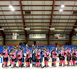 NEWMARKET, ON - Feb 9 : Ontario Junior Hockey League Game Action between the St. Michaels Buzzers and the Newmarket Hurricanes, the St.Michaels Buzzers Hockey Club and Newmarket Hurricanes Hockey Club shakes hands after the game.<br /> (Photo by Brian Watts / OJHL Images)