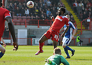 Gavin Tomlin incredibly missing an open goal from 4 yards during the Sky Bet League 1 match between Crawley Town and Oldham Athletic at the Checkatrade.com Stadium, Crawley, England on 6 April 2015. Photo by Michael Hulf.