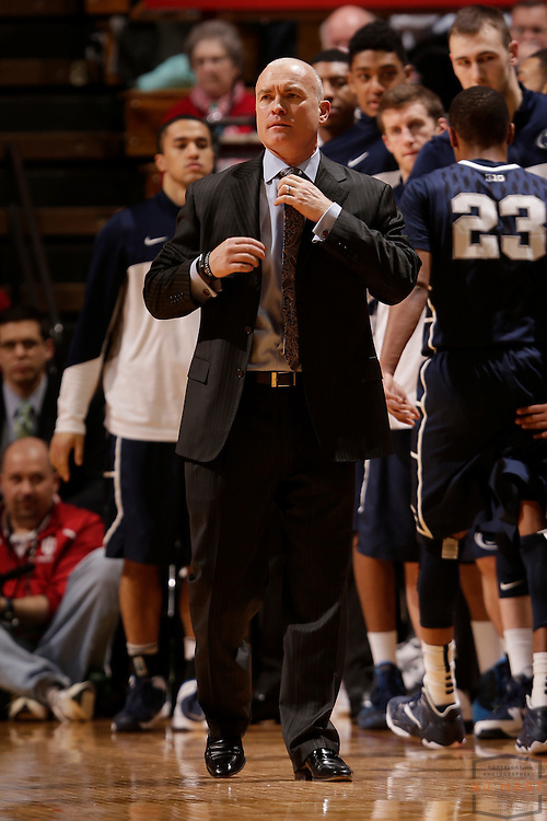 12 February 2014: Penn State head coach Patrick Chambers as the Indiana Hoosiers played Penn State in a college basketball game in Bloomington, Ind.