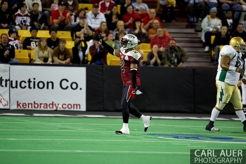 4/12/2007 - Dawon Gentry (2) plays to the crowd in the Alaska Wild 33-46 loss to the Frisco Thunder in the first professional football game in Alaska.