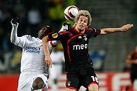 FOOTBALL - UEFA EUROPA LEAGUE 2009/2010 - 1/8 FINAL - 2ND LEG - OLYMPIQUE MARSEILLE v BENFICA - 18/03/2010 - PHOTO PHILIPPE LAURENSON / DPPI - MAMADOU NIANG (OM) / FABIO COENTRAO (LIS)