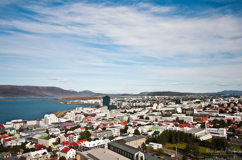 The view of Reykjavik city center from the steeple of the Hallgrímskirkja in Iceland.