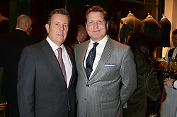 Left to right, JAMIE BILL publishing director at Conde Nast and CRAIG REYNOLDS CEO of Kent & Curwen at the Kent and Curwen London Flagship Launch, Saville Row, London on 6th November 2013.