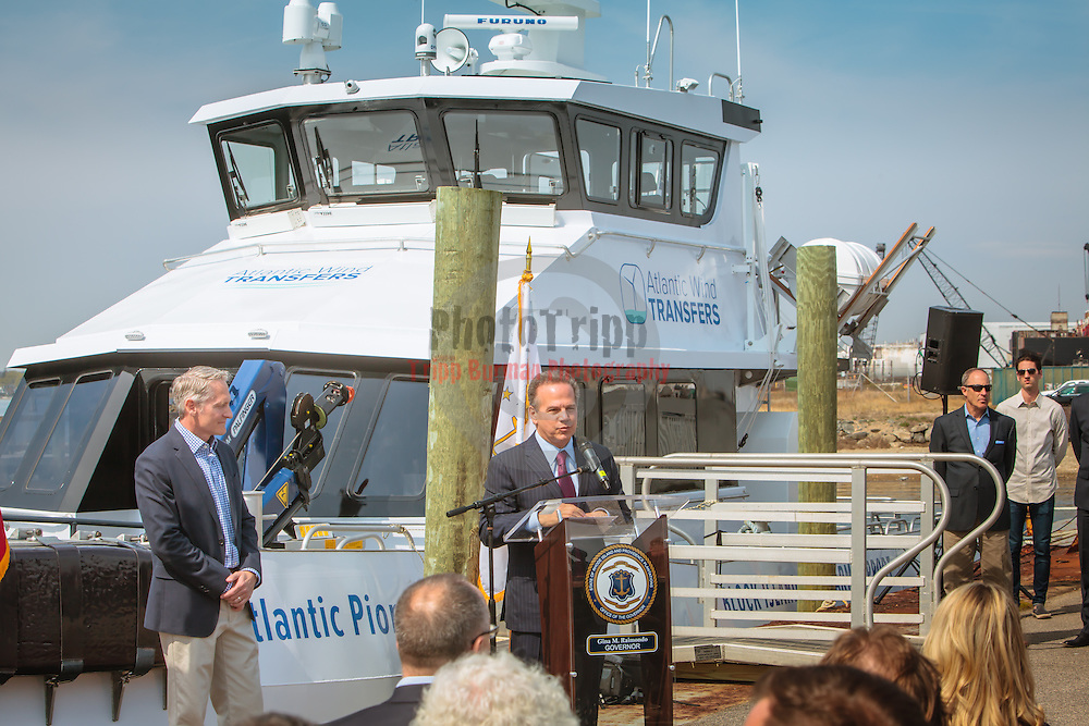 Atlantic, Atlantic Pioneer, Blount Boats, Christening, Congressman, Crew Transfer Vessel, Deepwater Wind, Donadio, Fast Ferry, Govenor, Jobs, Offshore Wind Farm, Quonsett Point, Rhode Island, Senator, RI Business, Family Business, Jobs, Economy, Firsts