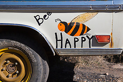 "hand painted old truck sign ""Bee Happy"""
